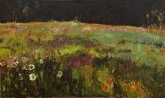 Tuscany Meadow with Orange and White Flowers, abstract oil painting