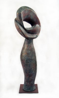 """""""Eye to the Future"""", tall ceramic sculpture, with a weathered bronze finish"""