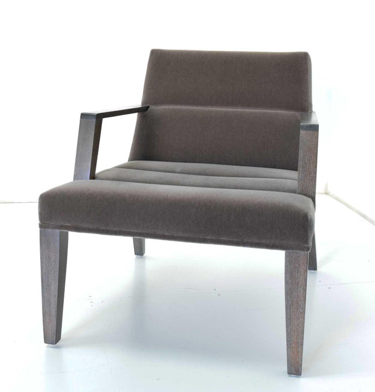 Well cared for the Elana chair by Bright in a taupe mohair.