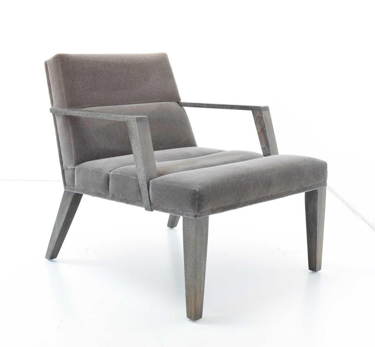 Contemporary Elana Chair by Bright in Mohair For Sale