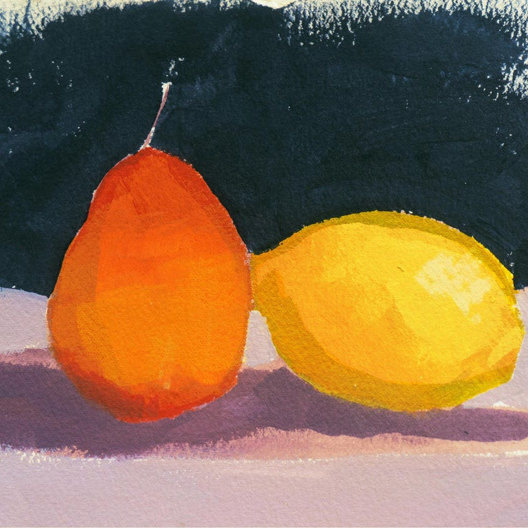 Still Life of Lemon and Pear - Post-Impressionist Painting by Elana Ryznar
