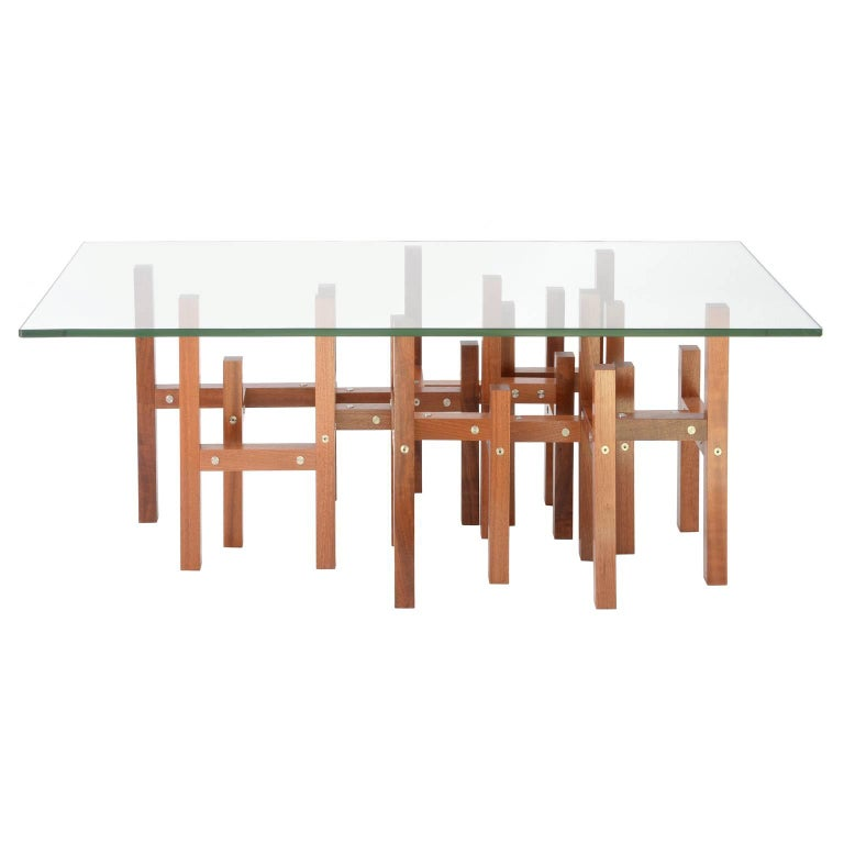 American Modern Industrial Coffee Table Glass Top Metal & Mahogany Wood, In Stock For Sale