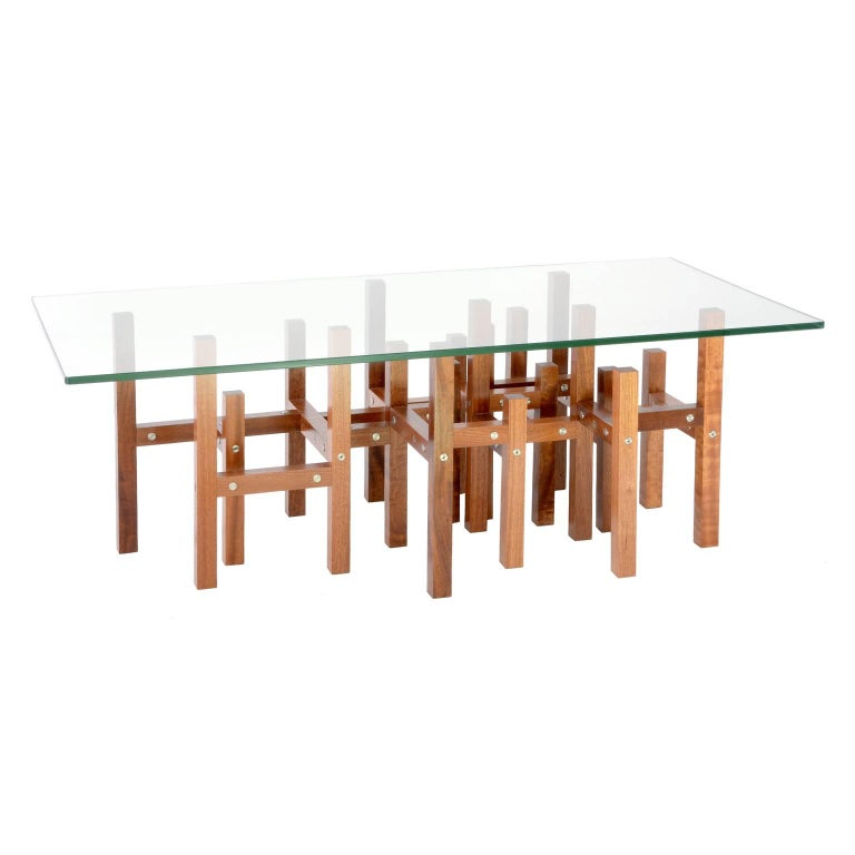 Modern Industrial Coffee Table Glass Top Metal & Mahogany Wood, In Stock For Sale