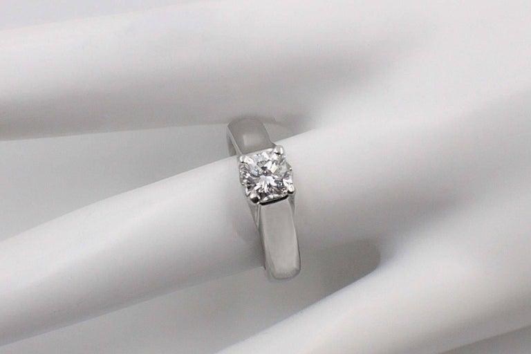 Women's Elara Radiant Diamond Engagement Solitaire Ring 0.71 Carat I VVS1 in Platinum For Sale