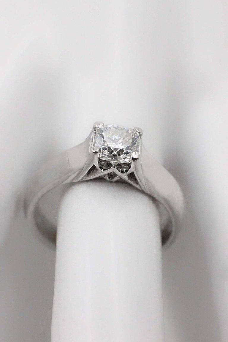 Elara Radiant Diamond Engagement Solitaire Ring 0.71 Carat I VVS1 in Platinum For Sale 1