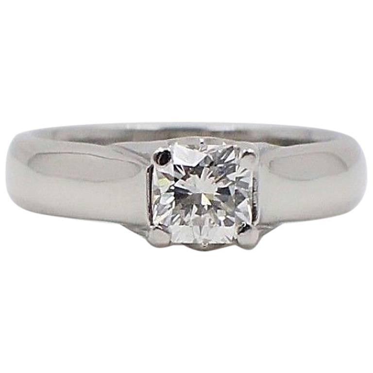 Elara Radiant Diamond Engagement Solitaire Ring 0.71 Carat I VVS1 in Platinum For Sale