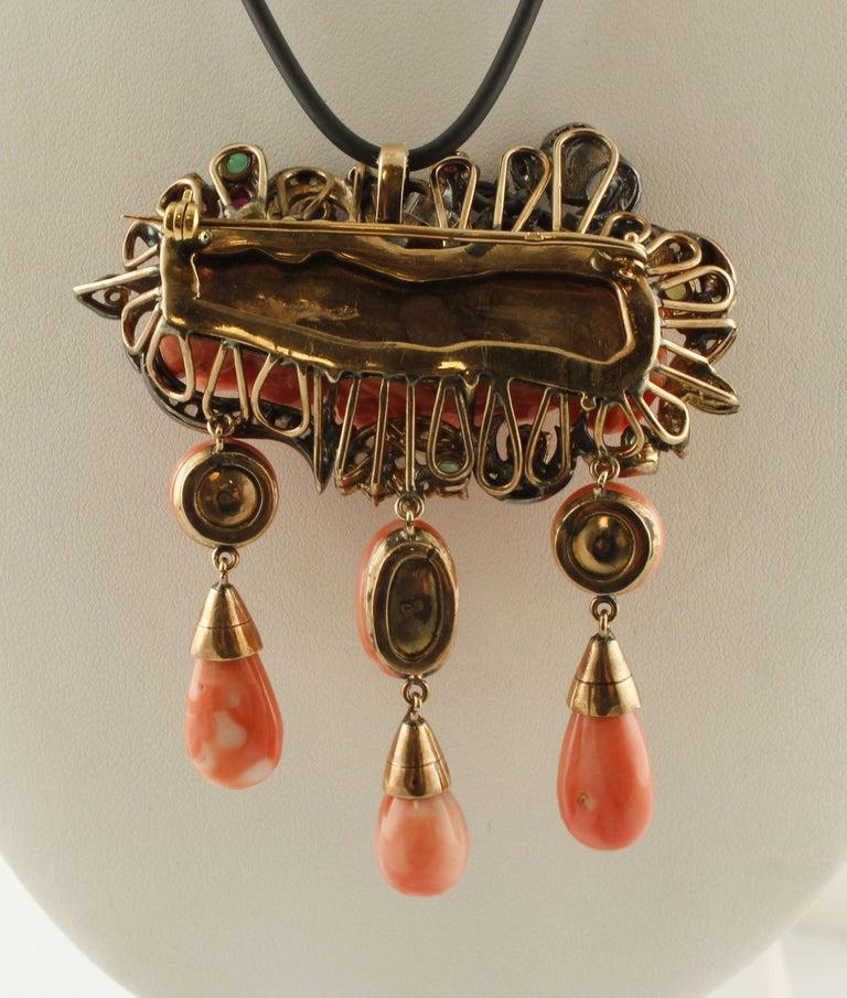 Retro Orange Corals, Diamonds, Rubies, Emeralds, Blue sapphires, Gold/Silver Pendant For Sale