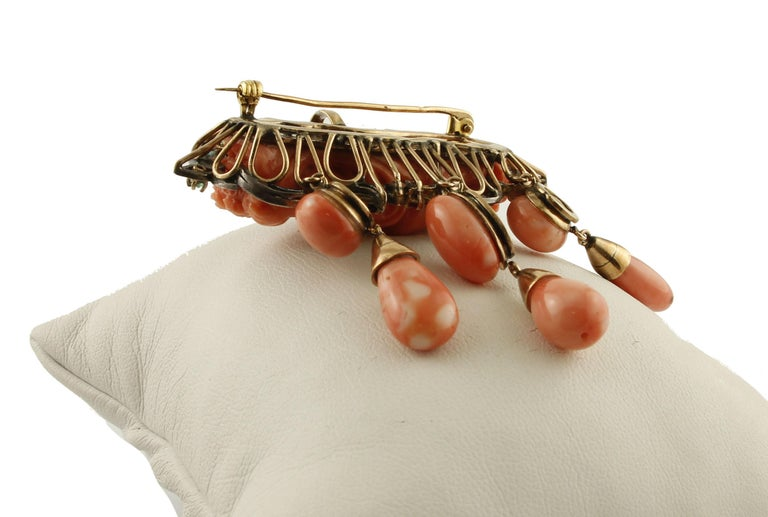 Women's Orange Corals, Diamonds, Rubies, Emeralds, Blue sapphires, Gold/Silver Pendant For Sale
