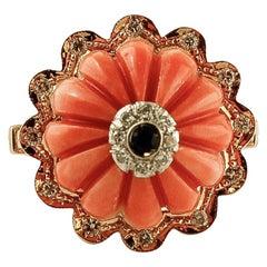 Elatius Coral, Diamonds, Sapphire, 14 Karat Rose Gold Vintage Ring