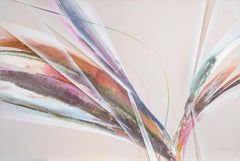 Pink Action, Large Abstract Painting by Elba Alvarez