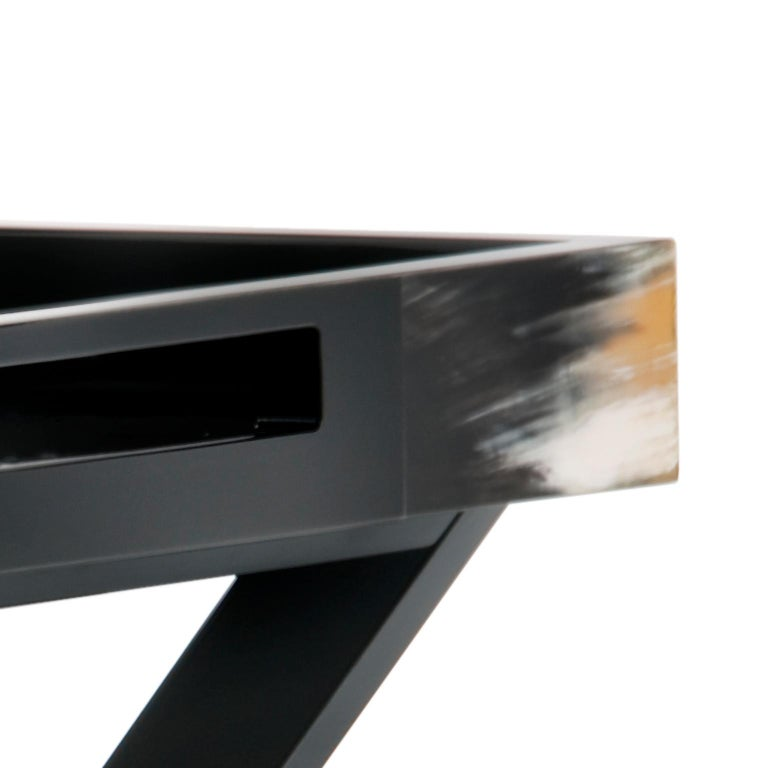 Lacquered Elba Butlers Serving Table in Wood with Corno Italiano Inlays, Mod. 1295 For Sale
