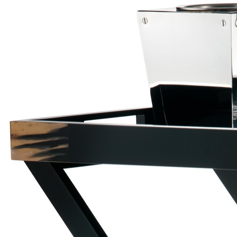Contemporary Elba Butlers Serving Table in Wood with Corno Italiano Inlays, Mod. 1295 For Sale
