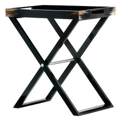 Elba Butlers Serving Table in Black Lacquered Wood with Horn Inlays, Mod. 1295