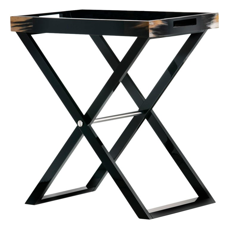 Elba Butlers Serving Table in Wood with Corno Italiano Inlays, Mod. 1295 For Sale
