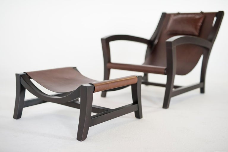 Modern Elba, Deckchair Inspiration for This Leather and Beechwood Indoor Lounge Chair For Sale