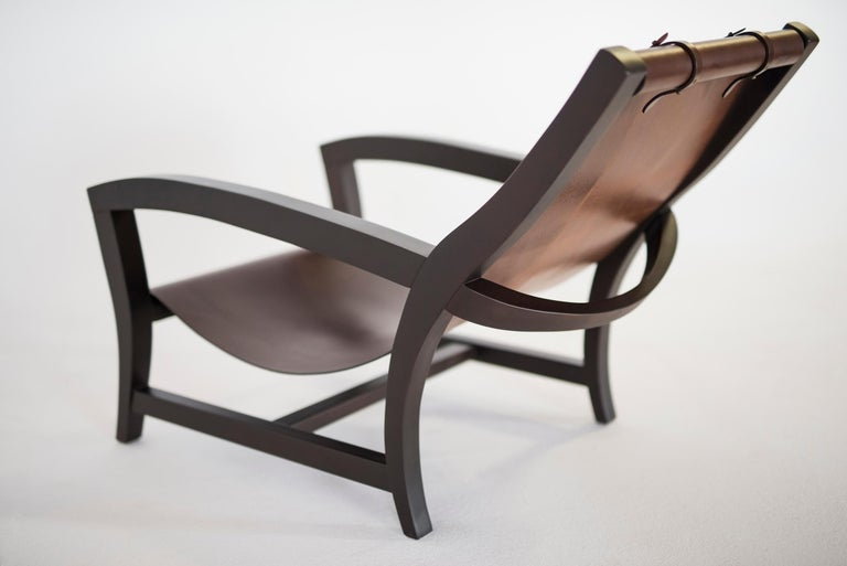 Italian Elba, Deckchair Inspiration for This Leather and Beechwood Indoor Lounge Chair For Sale
