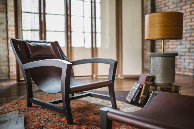 Elba, Deckchair Inspiration for This Leather and Beechwood Indoor Lounge Chair For Sale 2