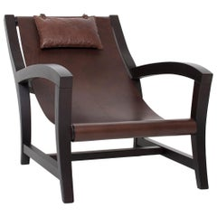 Elba, Deckchair Inspiration for This Leather and Beechwood Indoor Lounge Chair