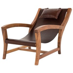 Elba, Deckchair Inspiration, Leather and Canaletto Walnut Indoor Lounge Chair
