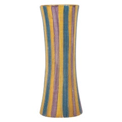 Elbee Vase, Ceramic Stripes, Pastel and Gold, Signed