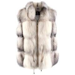 Elcom White and Grey Fox Fur Zipped Gilet