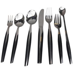 Eldan Flatware with Ebonized Resin Handles set Service for 10