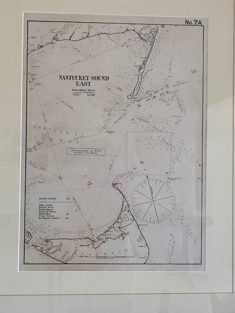 Eldridge chart of Nantucket Sound – East, circa 1920, a scarce navigational chart showing the Eastern approach into Nantucket Sound. This chart was made expressly for Eldridge's son-in-law Wilfrid White of the famous Kelvin & White Ship Chandlers in