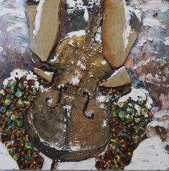 Cello in The Snow - oil, enamel, glazed ceramic and canvas on panel, textural
