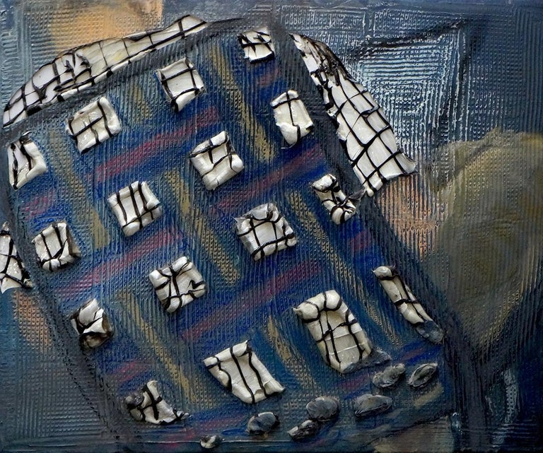 """""""I.T. Guy"""" is a mixed media painting by Knoxville based artist Eleanor Aldrich.  Emphasizing pattern and texture, the painting depicts a man lounging comfortably in a blue lawn chair and is made of oil pastel, oil, silicone, acrylic, and canvas on"""