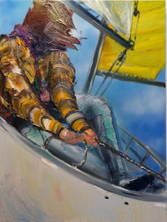 On The Boat - Textural Figurative Painting of Figure on Sailboat- oil and enamel