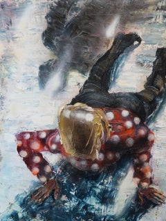On The Ice - Textural figure painting - Oil and Enamel on Canvas Red, Polka-Dot