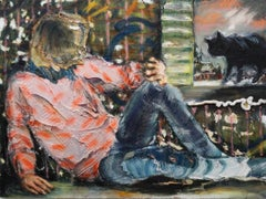 The Black Cat - Textural figurative painting, woman reclining with black cat