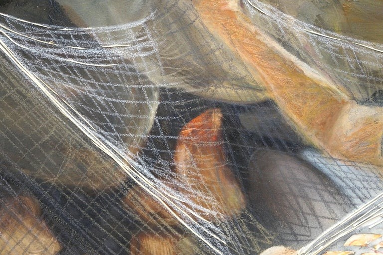 The Net Hammock - Eleanor Aldrich - Contemporary - Painting - Figure - Texture For Sale 4