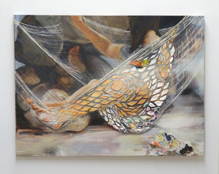 The Net Hammock - Eleanor Aldrich - Contemporary - Painting - Figure - Texture For Sale 1