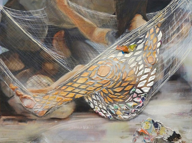 "Eleanor Aldrich's mixed media painting ""The Net Hammock"" is a textural rendering of a figure resting in a sprawling hammock.  Made of oil, enamel, silicone, caulking, and found transfers on canvas, ""The Net Hammock"" is one of ten paintings in"