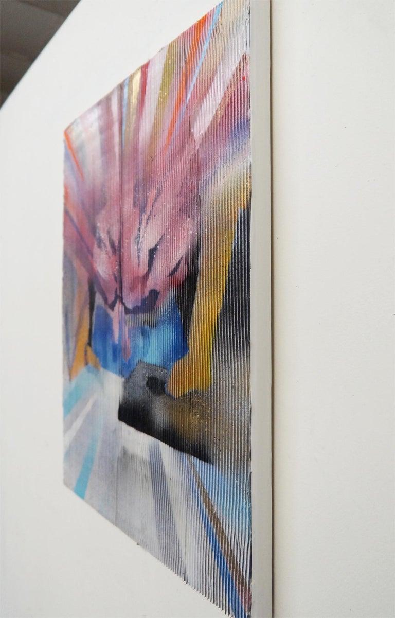 Lenticular Vanish - textural optical illusion painting using caulk and enamel For Sale 2