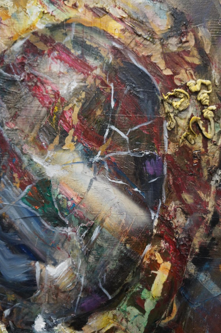 The Cracked Mirror - oil and enamel and canvas on canvas- textural, figurative - Painting by Eleanor Aldrich