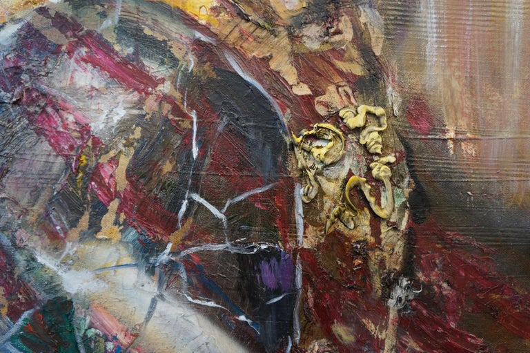 The Cracked Mirror - oil and enamel and canvas on canvas- textural, figurative - Contemporary Painting by Eleanor Aldrich