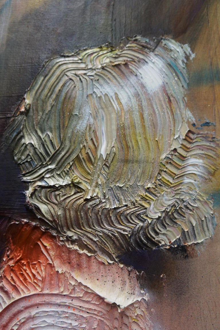 The Cracked Mirror - oil and enamel and canvas on canvas- textural, figurative - Brown Figurative Painting by Eleanor Aldrich