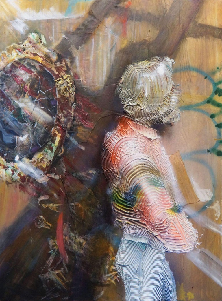 Eleanor Aldrich Figurative Painting - The Cracked Mirror - oil and enamel and canvas on canvas- textural, figurative