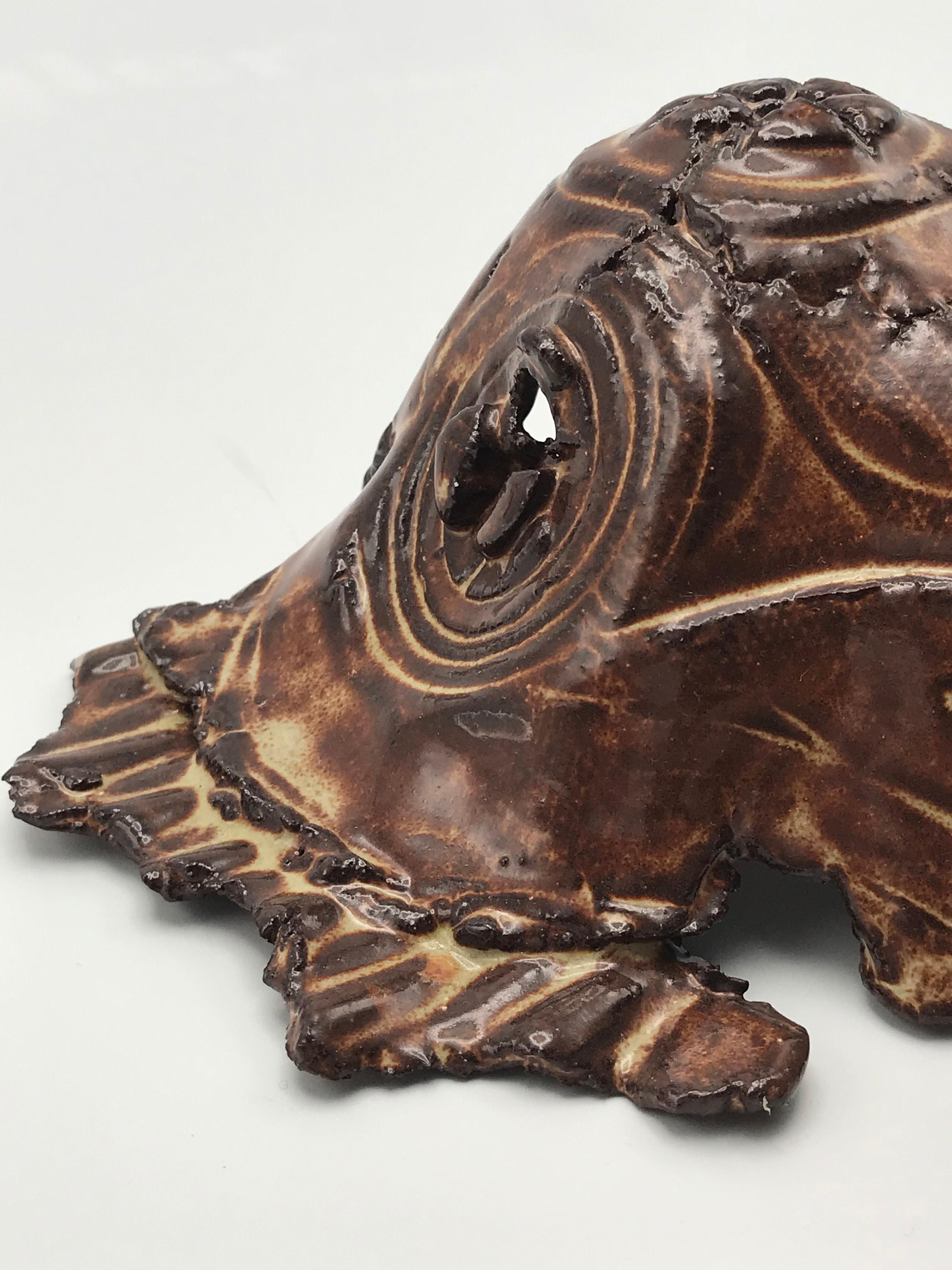 Ceramic Mask (Brown) -  5.5 x 6.5 - Ceramic and Brown, Glossy Glaze, 2019