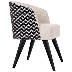 21st Century Eleanor Chair with Armrests Wood Textured Fabric Jacquard Velvet