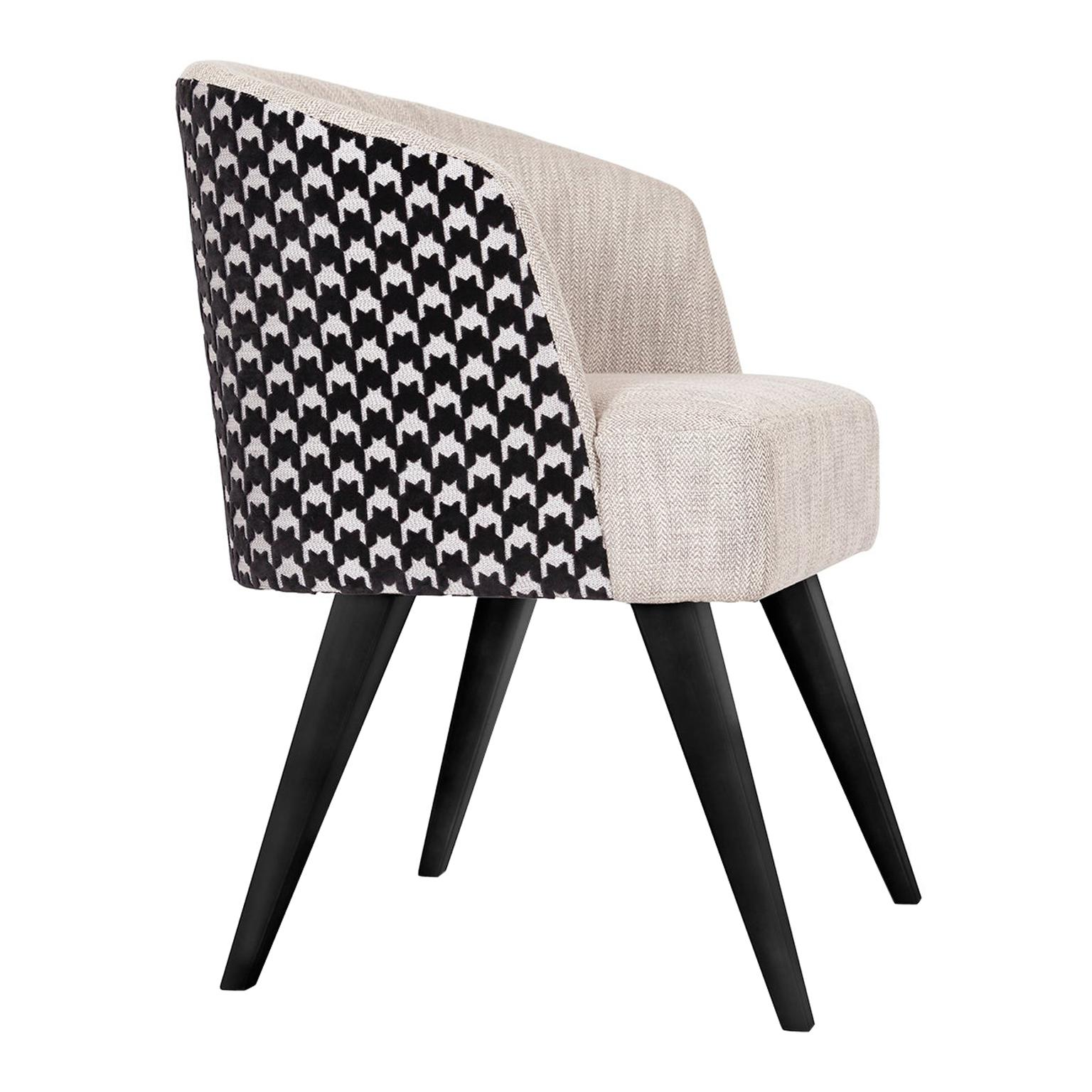 Eleanor Chair with Armrests Wood Black Lacquered Textured Fabric Jacquard Velvet