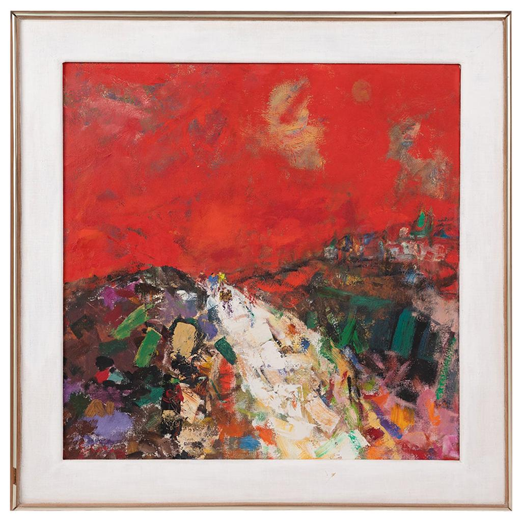 Eleanor Coen Expressionist Red Landscape with Cyclists Painting
