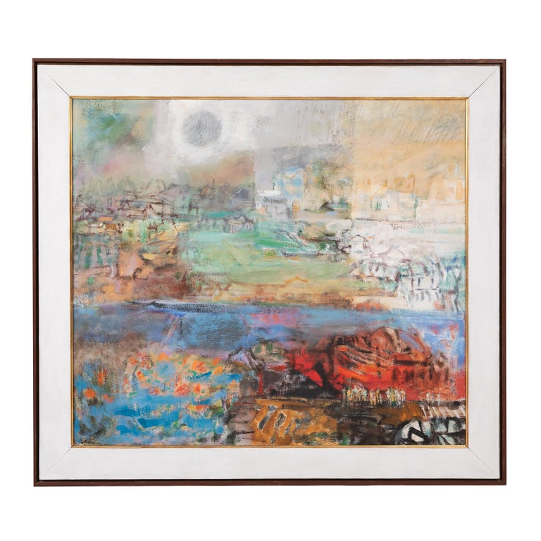 This multicolored expressionist style painting by American artist Eleanor Coen depicts the layered feeling of a city with its patchwork of buildings and landscape intersected by a bright periwinkle river. Her work often found inspiration in urban