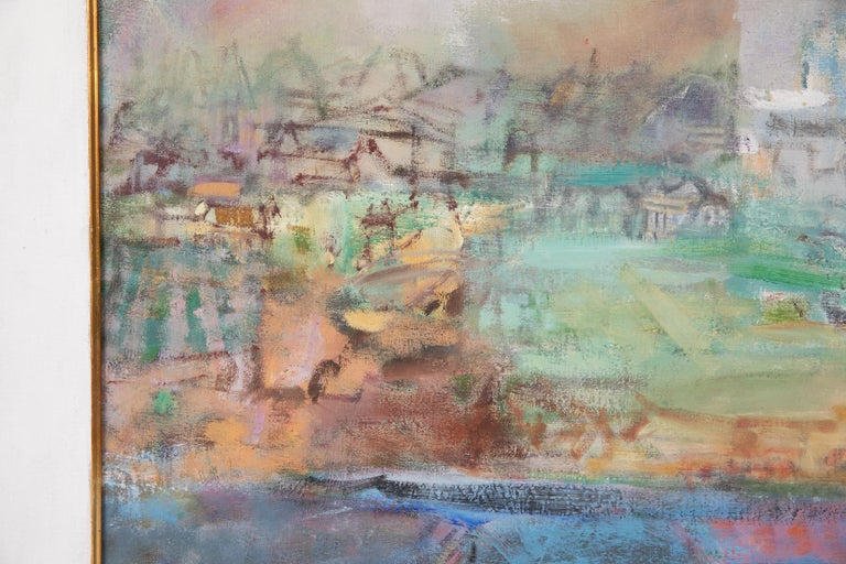 Mid-Century Modern Eleanor Coen Expressionist Urban Landscape Painting For Sale