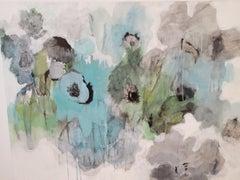 Les Fleurs, Abstract, Acrylic & Charcoal,  36 x 48,Texas artist