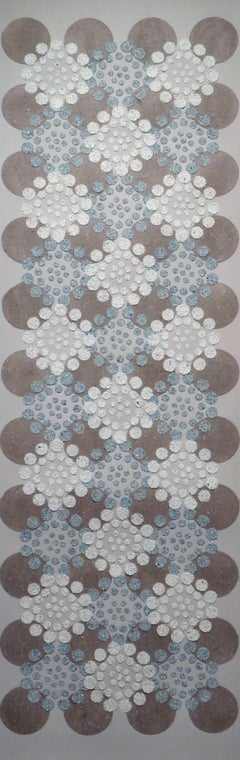 Blue Brown Dots, Long Vertical Horizontal Patterned White Circles Textured Dots