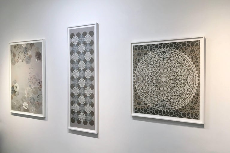 Eggshell Ash Mandala, Mixed Material Layered Texture Pattern in Grey and White For Sale 1