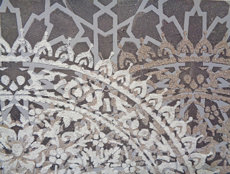 Eggshell Ash Mandala, Mixed Material Layered Texture Pattern in Grey and White For Sale 2